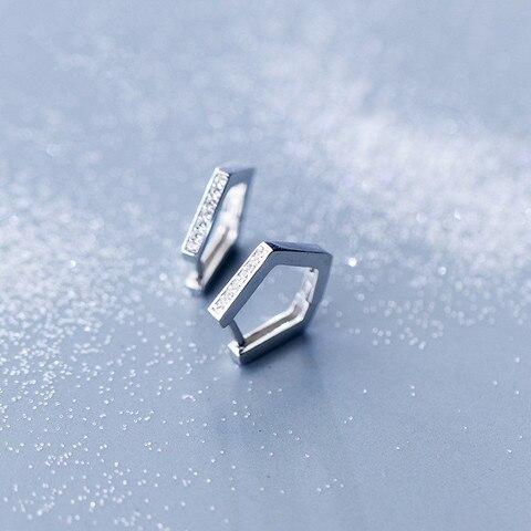Real de 100% Autêntico Sterling Silver Fine Jewelry Branco Zirconia Grupo Geométrica Pentágono Hoop Huggie Brincos Gtle2426 1 Par 925