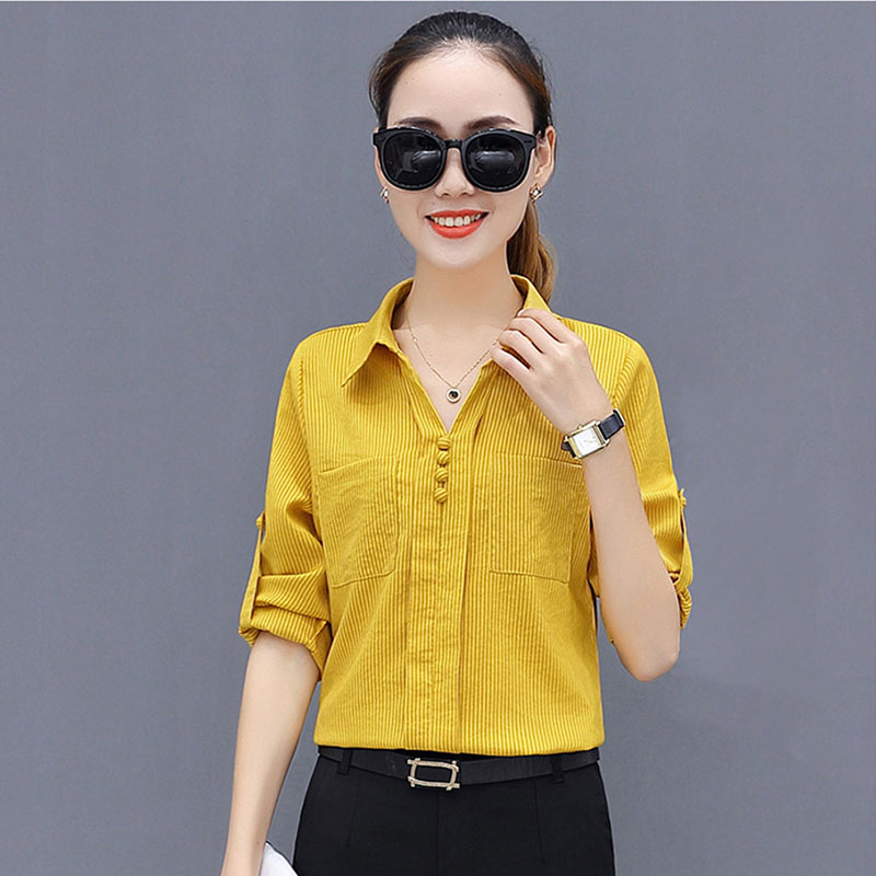 Office Work Wear OL Women Spring Summer Style Chiffon   Blouses     Shirts   Lady Casual Long Sleeve Striped Blusas Tops DF1884