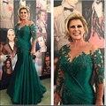 HS413 Elegante Vestido A Linha de Colher Até O Chão Apliques de Renda de 3/4 Mangas Mãe do Vestido Da Noiva Para O Casamento vestido de noite