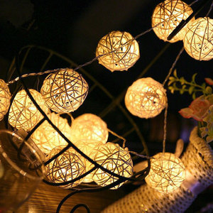 2.5M 5M 40 LED String Lights Rattan Ball Garlands Holiday Wedding Party Decoration LED String Christmas Fairy Light For Outdoor(China)