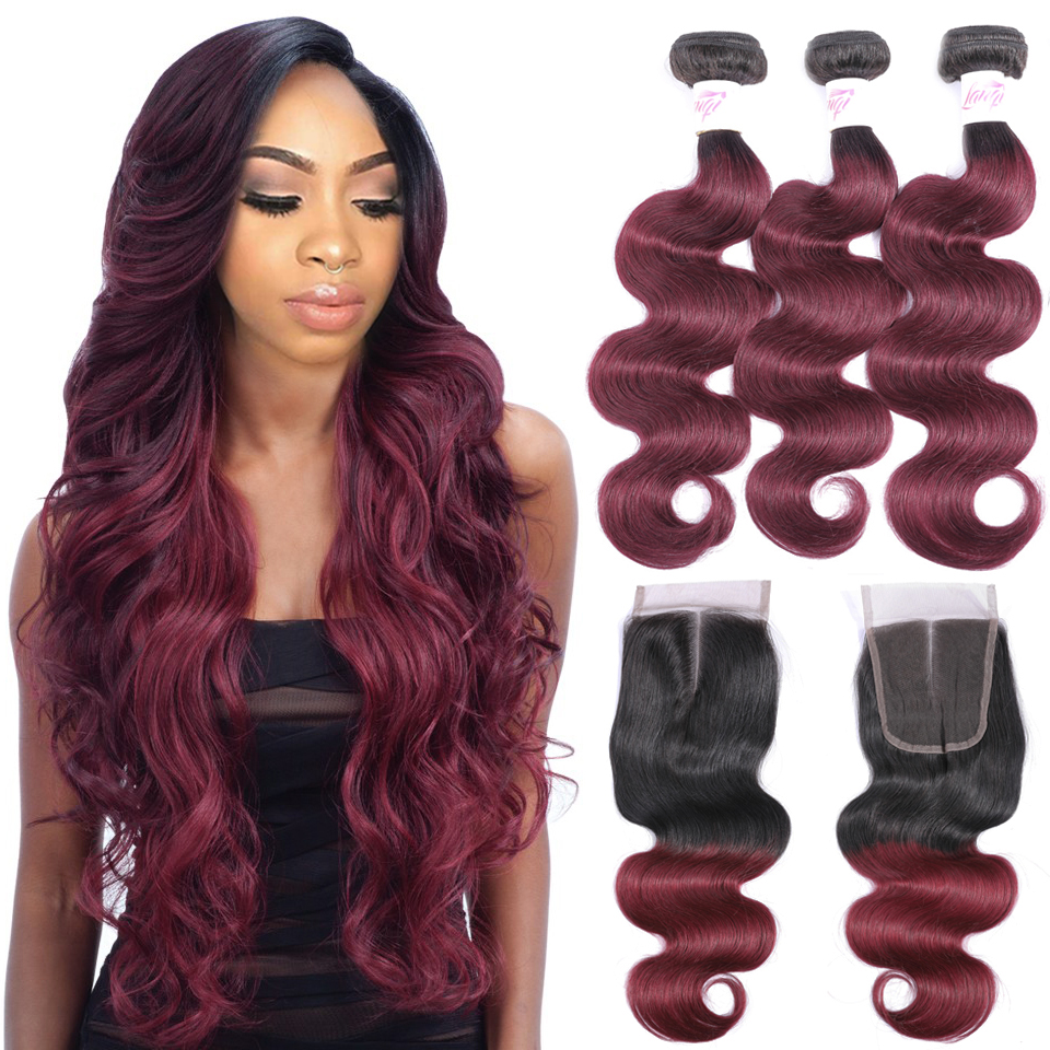 Brazilian hair Weave 3 bundles Burgundy Body Wave Ombre Bundles With Closure T1B 99j Human Hair