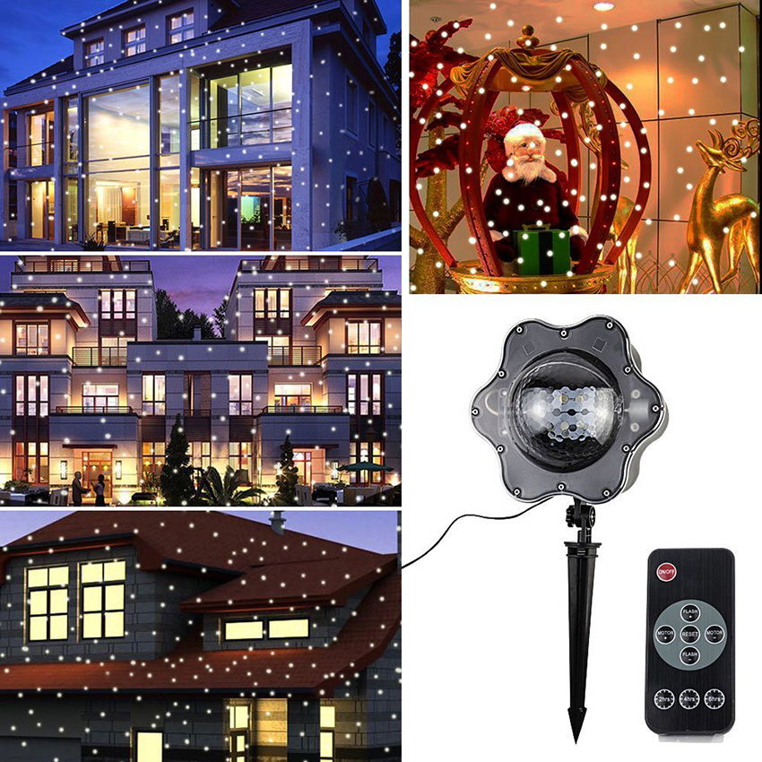 Moving Snowflake Laser Projector Lamps IP65 Outdoor Garden Christmas Snowfall Landscape Lawn Projector Light For New Year Party ip65 moving snow outdoor garden laser projector lamps outdoor snowfall laser light christmas garden landscape spotlight