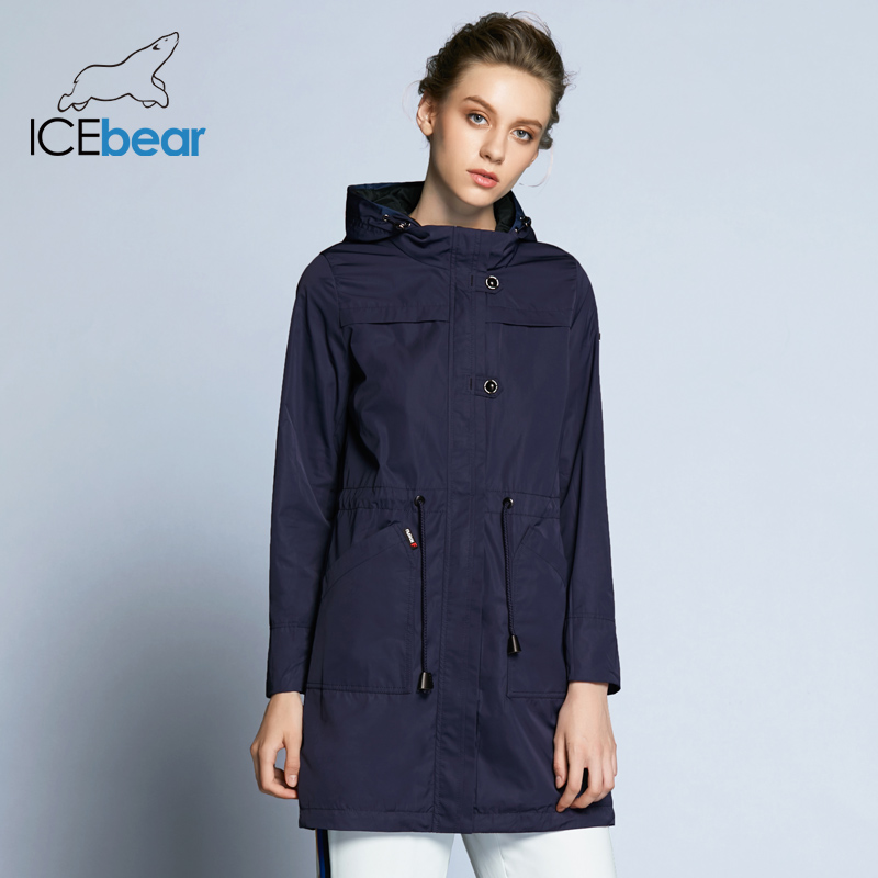 ICEbear 2019 New Arrival Autumn Trench Coat Solid Color Woman Fashion Slim Coats O Neck Collar