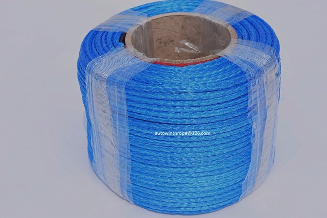 Blue 6mm*100m 12 Strand Synthetic Winch Rope,ATV Winch Line,12 Plait UHMWPE Rope,Off Road Rope