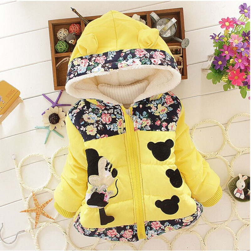2018 Winter Girls Warm Jackets Children Clothing Baby Coat Girls Minnie Cartoon Hooded Outerwear For 1 5 Years Kids Vest Jacket in Jackets Coats from Mother Kids