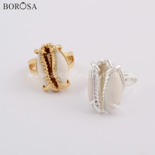 BOROSA 5PCS Gold/Silver Bezel Natural Cowrie Shell Ring Trendy Claw Rings Jewelry for Ladies as Gifts ZG0398