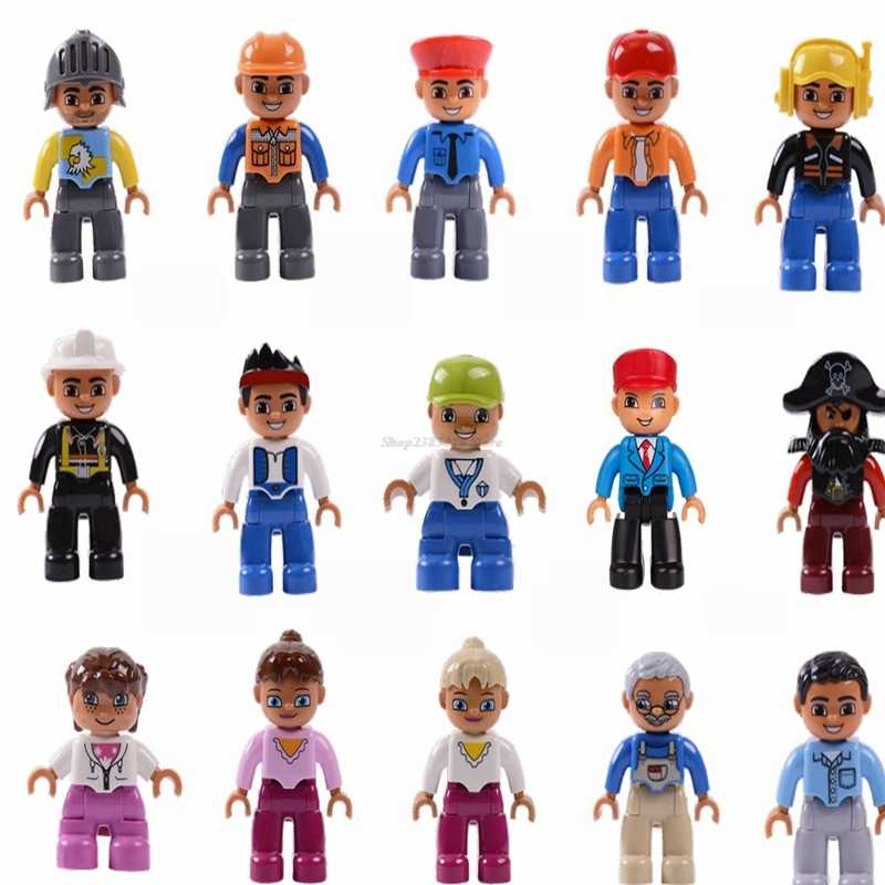 Legoing Duplo Blocks Toys Figures Family Member Worker Police Animals Train Figure Building Blocks Baby Kids Gifts Legoings Doll