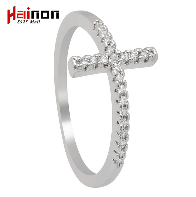 Trend Sideways Cross silver plated rings Fashion Jewelry drop shipping crystal vintage wedding ring for women