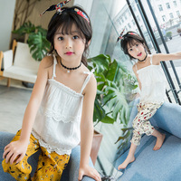 White Fashion Lace Girls 2017 Summer New Girl Children Sets Camisole Clothes 2pcs Chiffon Floral Bloomers