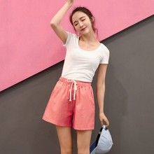 Linen Short Pants Female Summer Shorts Cotton Linen Wide Leg Trousers Women Casual Plus Size Loose Lace Up Elastic Waist Shorts