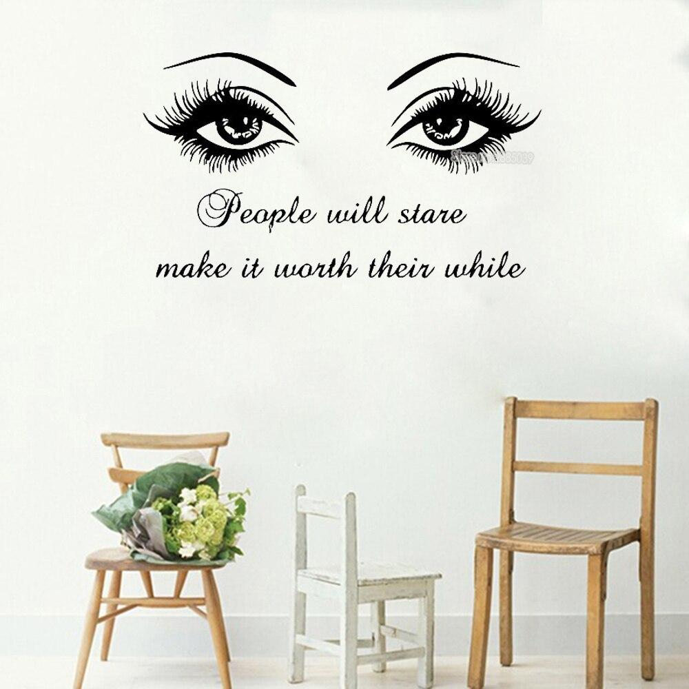 Наклейка на стену черный глаз ресницы Винил Стикеры S ресницы брови Красота салон стены Стикеры Цитата Девушка номер домашнего декора LC020