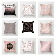 Fuwatacchi Nordic Style Cushion Cover Pink Geometric leaves Floral Letter Printed Pillow Decorative Pillows For Sofa Car