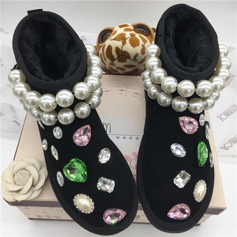Free Shipping Handmade Rhinestone kids crystal baby girl's bling pearls Snow Boots children warm Shiny fashion Winter Shoes tassels feather crystal rhineston snow boots woman winter luxury women s bling bling snow boots warm shiny fashion winter shoes
