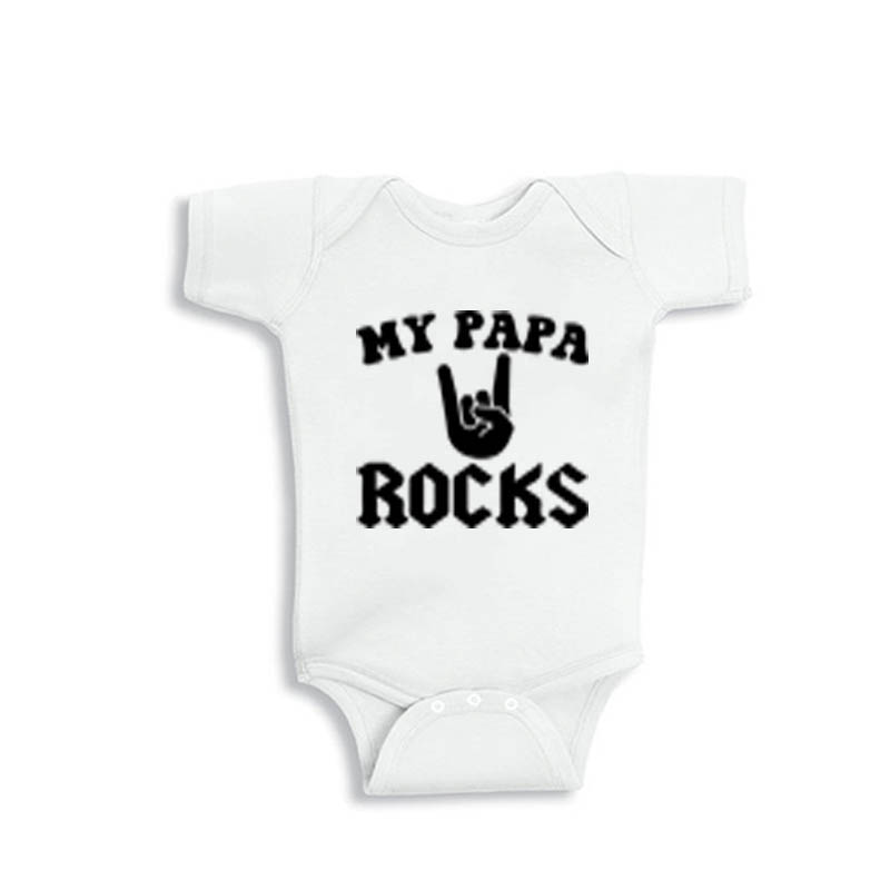 YSCULBUTOL 2018 New Summer My Papa Rocks White Short Sleeve Unisex Baby Bodysuit