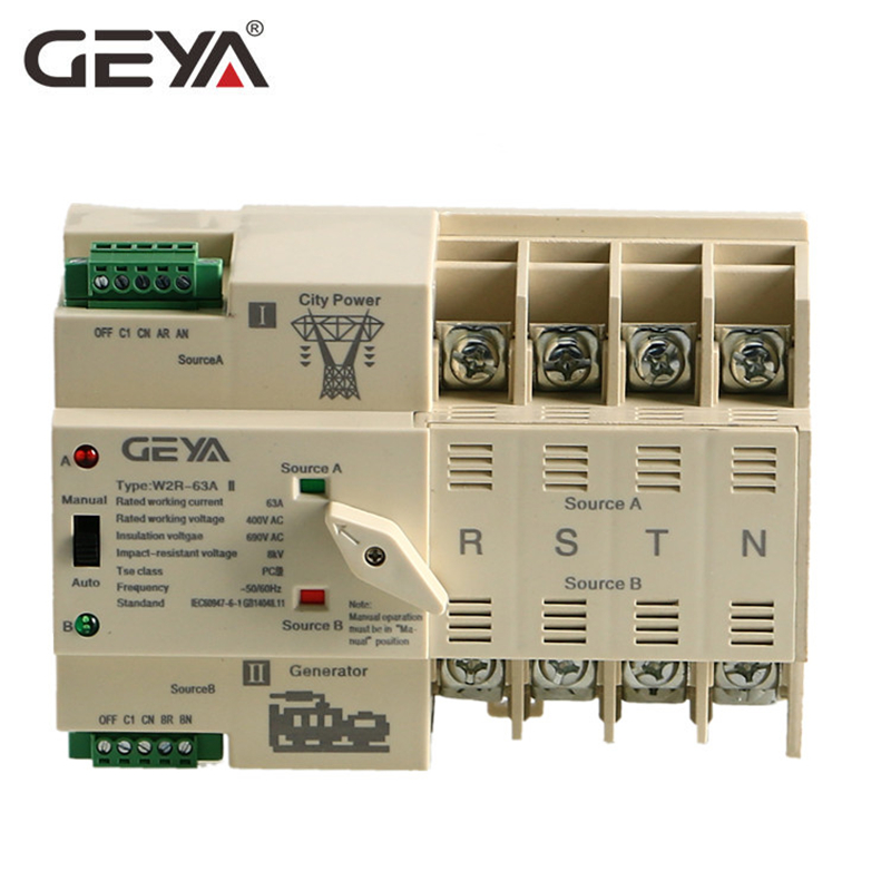 GEYA vendas Duplo Poder Chave de Transferência Automática ATS 4P 50A PC Tipo Din Rail Interruptor Interruptores Manuais