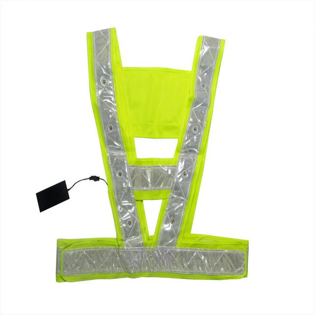 """Universal Fit 16 LED vermelho iluminado de trabalho de segurança Vest w / 2 """" tiras reflexivas"""