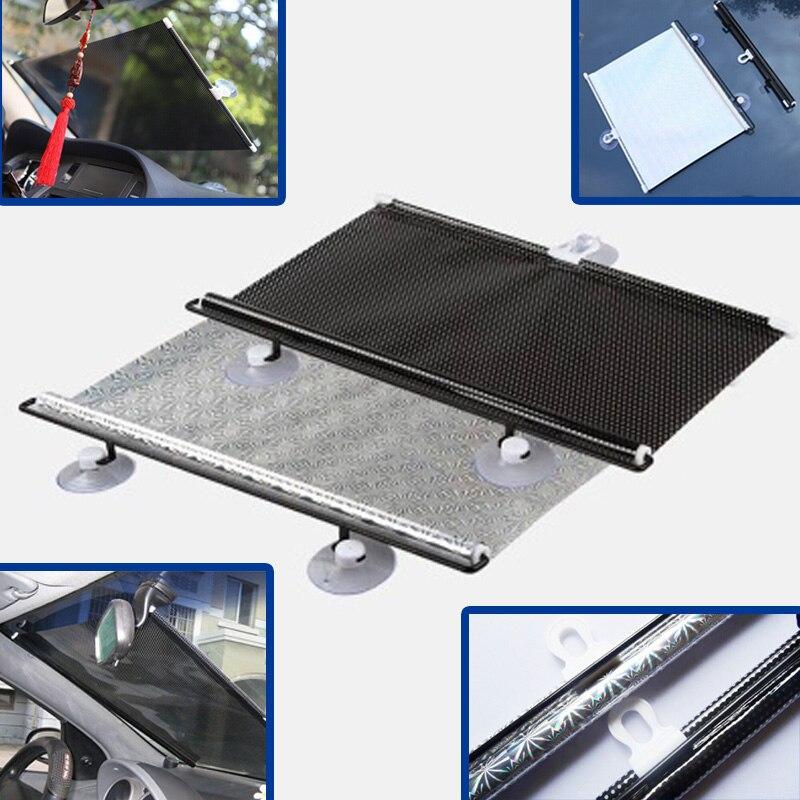 Parasol de voiture Fenêtre Visière Pare-Brise Sucker Devant Dos Côté Argent Noir Rideau Rétractable PVC Tige Métallique Couverture D'ombre