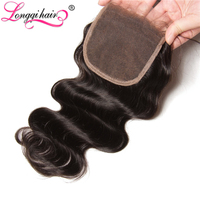 Longqi Hair Free Part Brazilian Body Wave Lace Closure Non-Remy Hair 4x4 120% Density Natural Color 10-20 Inch Free Shipping