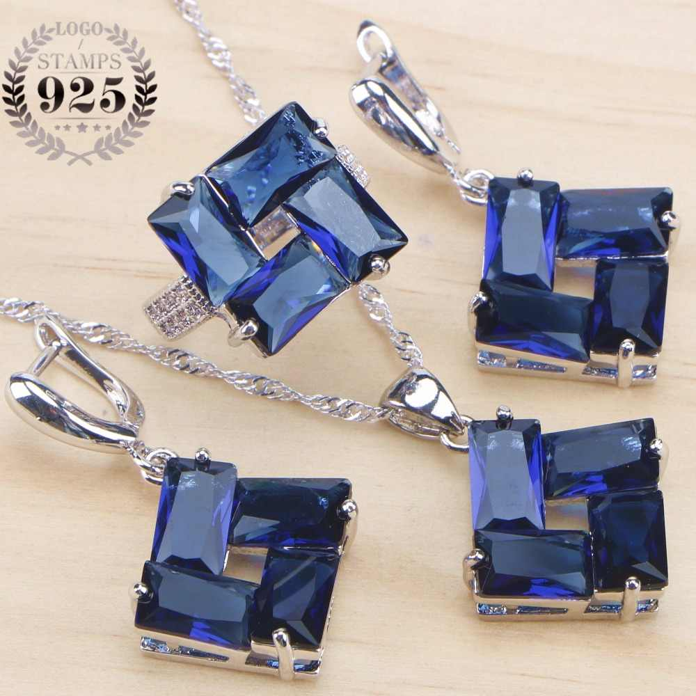 Blue Zirconia Bridal Jewelry Sets Stone Silver 925 Jewelry With Earrings Ring For Women Wedding Pendant Necklace Set Gift Box
