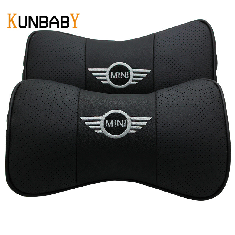 все цены на KUNBABY Leather 2PCS Car Styling Leather Car Neck Pillow Head Car Headrest Pillow Cushion Cover For Mini Cooper R56 Accessories онлайн