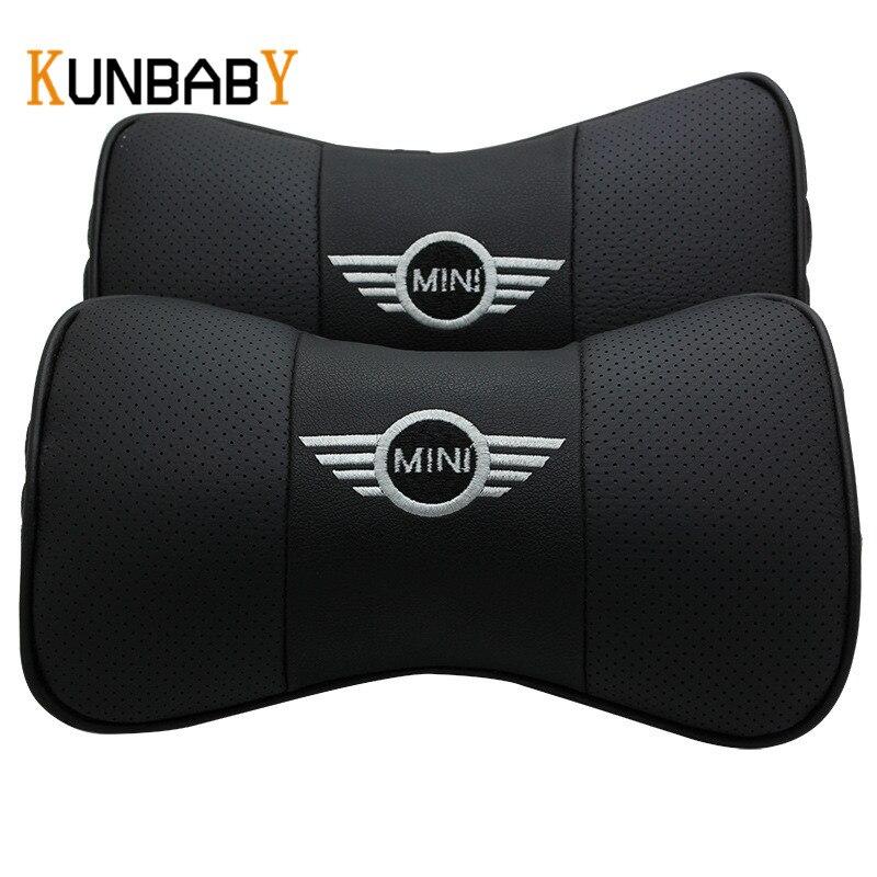 KUNBABY Leder 2 STÜCKE Auto Styling Leder Auto Nackenkissen Kopf Auto Kopfstütze Kissen Kissenbezug Für Mini Cooper R56 zubehör