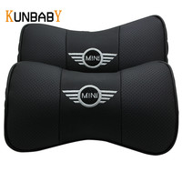 KUNBABY Leather 2PCS Car Headrest Neck Support Car Emblem Pillow Seat Cover Cushion For Mini Cooper
