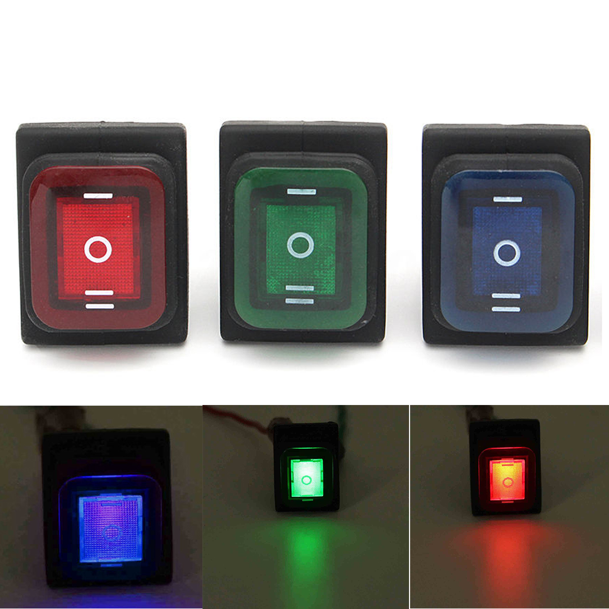 On-Off-On 6 Pins LED Rocker Switch DC12V Green / Blue / Red Car Boat Toggle Latching Waterproof Switches for Automobiles Mayitr on the open shanghai wing star ship switch kcd6 21n f ip65 waterproof switch 6a 4 foot red 220v