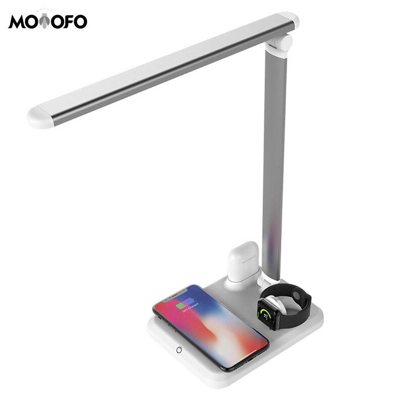 Lampe à led table lumineuse Bureau led Qi Sans Fil chargeur pour iphone 8 X XS XR Apple Montre 4 3 2 Airpods USB Charge Rapide tapis de bureau