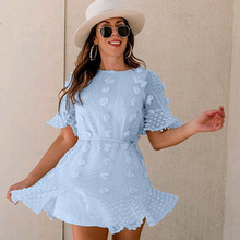 Summer Short Sleeve Solid Color Dress Women Sexy Flare Mini Sun Holiday