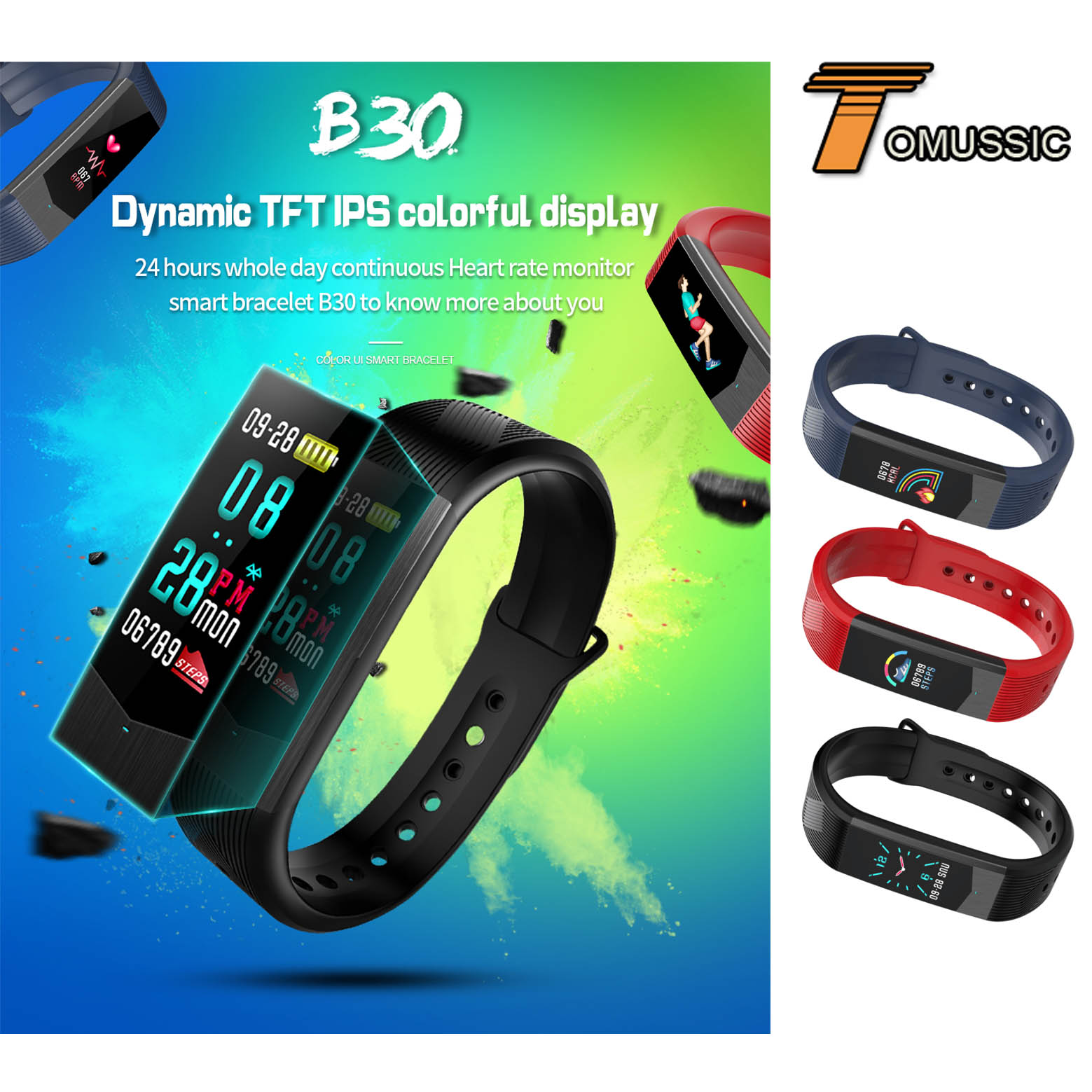 US $36 43 28% OFF|TOMUSSIC Colorful UI Face Fitness Bracelet Smart  Wristbands Heart Rate Monitor Sleep Tracker Band Smart Watch for IOS  Android-in
