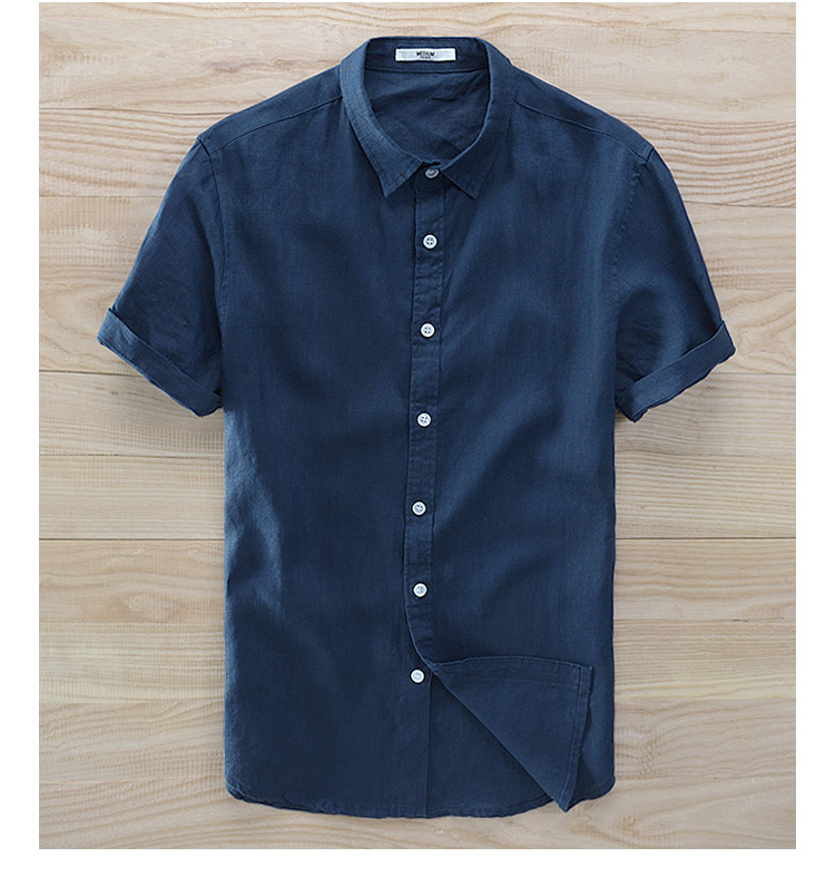 Short Sleeve Linen Fashion Men's Shirt