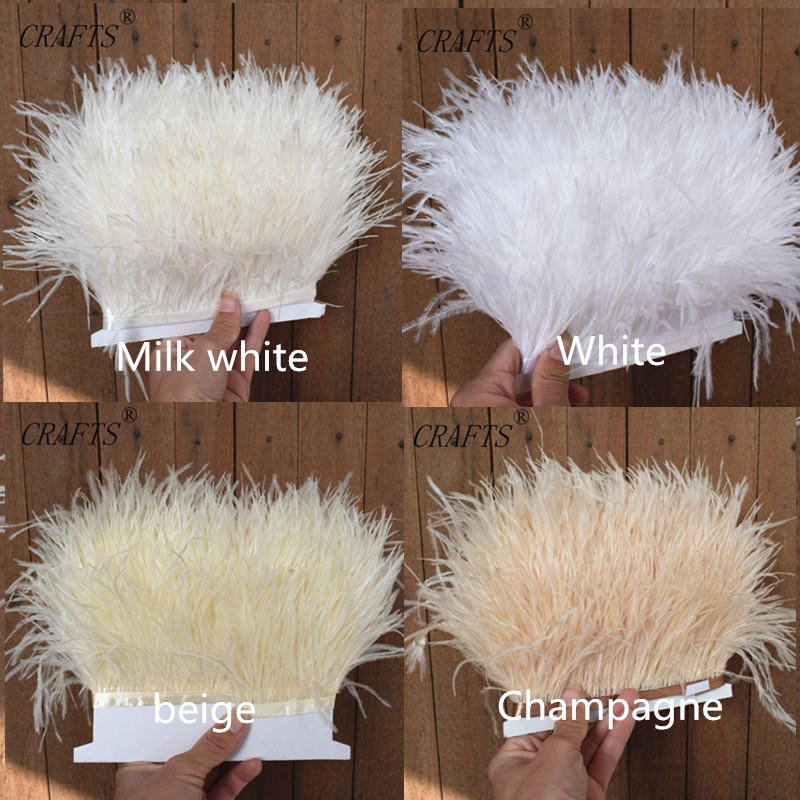 1 meter fluffy beautiful ostrich feather trim cloth sideband 8 11cm wide Suitable for skirts dresses apparel party DIY craf in Feather from Home Garden