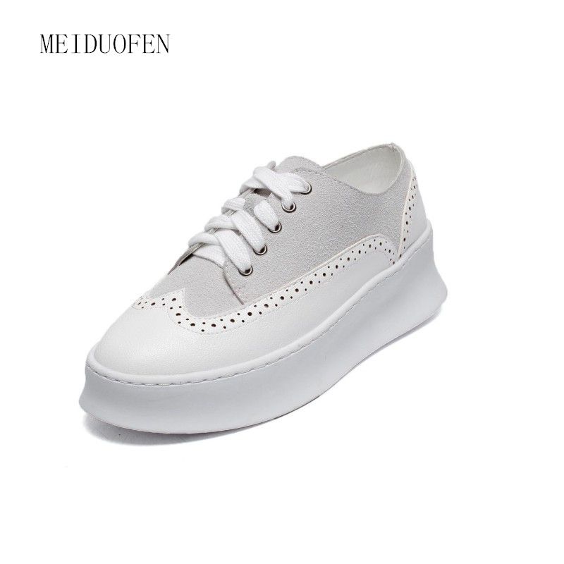 Genuine Leather Women Sneakers Fashion Shoes for Women Lace up White Creepers Platform Shoes Casual Shoes scarpe donna