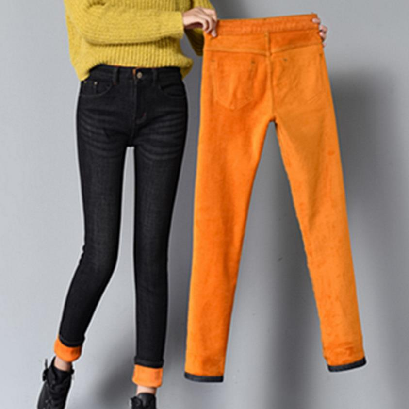 Warm Jeans For Women Thicken Pants Winter Jeans Female Stretch Straight Fashion High Waist Jeans Femme Denim Pants