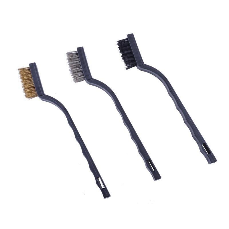 Купить с кэшбэком Flexsteel 3PCS Mini Wire Brush Set Nylon Wire Brush Brass Wire Brush Stainless Steel Wire Brush for Cleaning Scrubbing