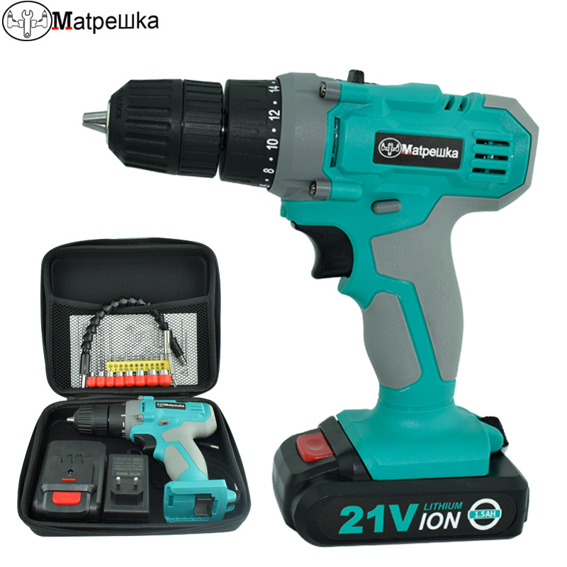 21V electric screwdriver power tool multi function rechargeable 1 * lithium battery drill household cordless drill