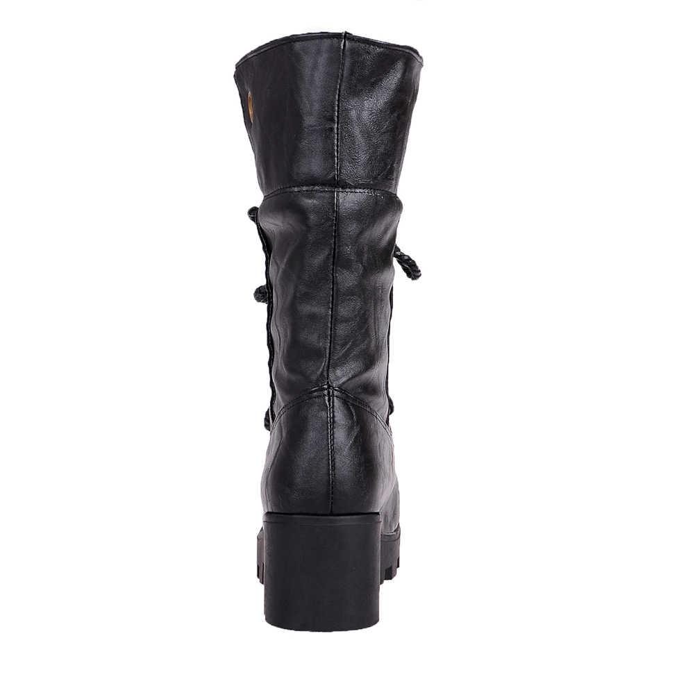 BONJOMARISA yeni geniş kadın platformu orta buzağı batı botları kış retro dantel-up sıcak kürk botları yüksek geniş topuklu ayakkabılar kadın 34-43