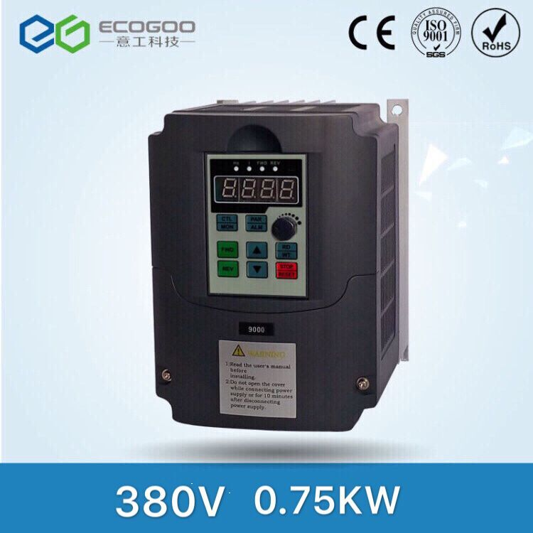Ecogoo inverter 0.75KW 380V vector control frequency inverter variable speed drive VFD factory direct sales