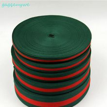 100yards 3.8cm Christmas green and red stripes Ribbon packaging ribbon plain polyester twill