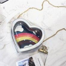 Ins Sweet Heart-shaped Clear Rainbow Women Handbag Cute Girl