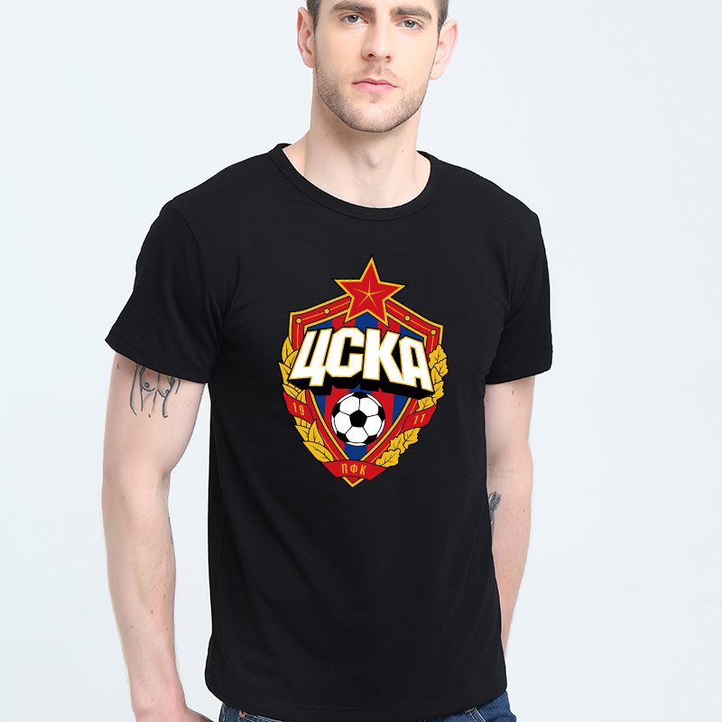 The central cska Moscow Russia LOGO   T  -  shirt   Top Lycra Cotton Men   T     shirt   New Design High Quality Digital Inkjet Printing