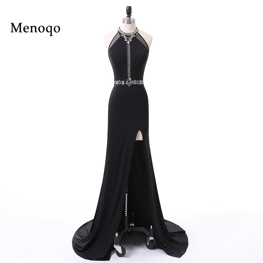 Menoqo Long Black Prom Dresses Side Slit Women Lady Sexy Evening Party Prom Dresses Real Photos