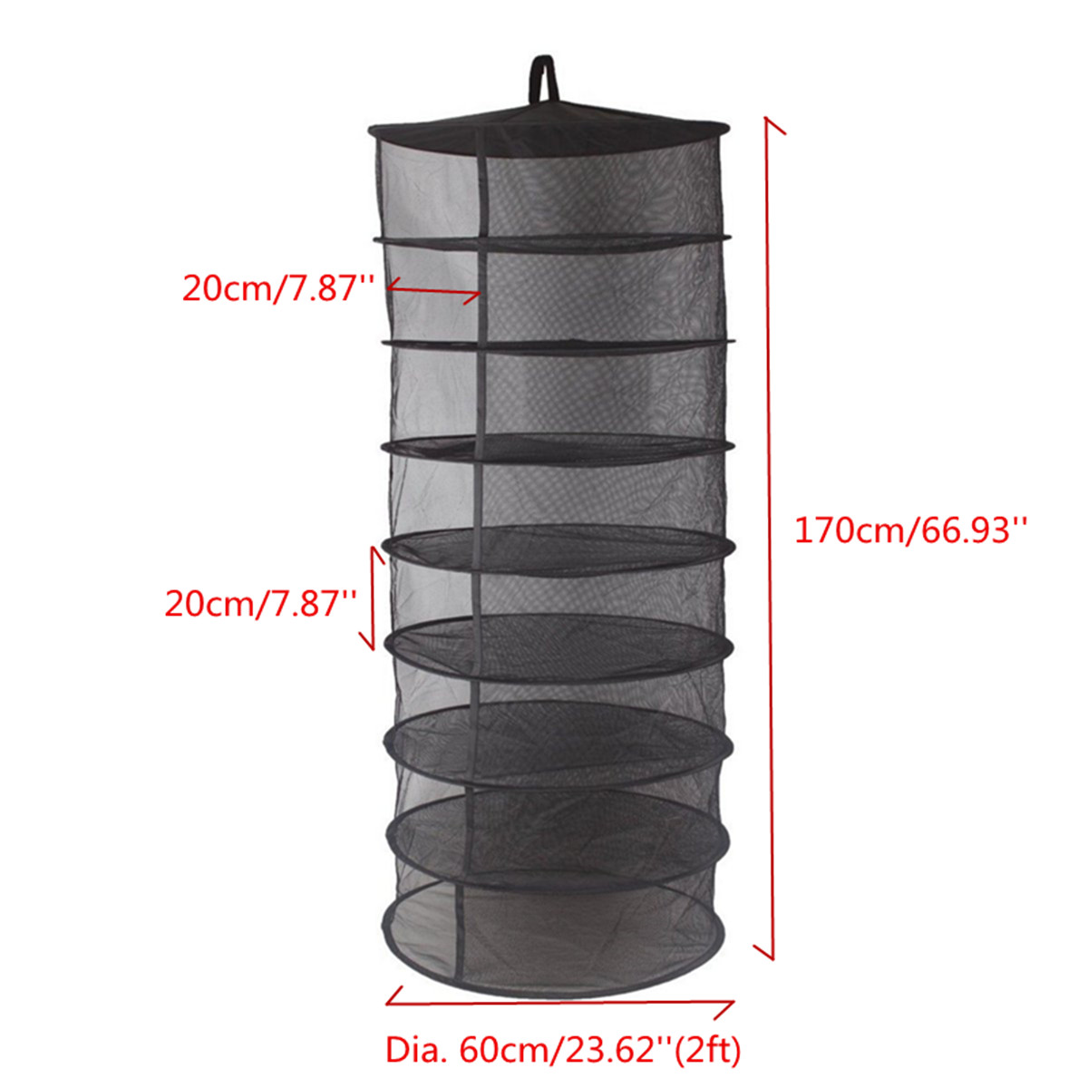 2FT 8 Layers Collapsible Wire Mesh Hanging Net Black Drying Rack ...