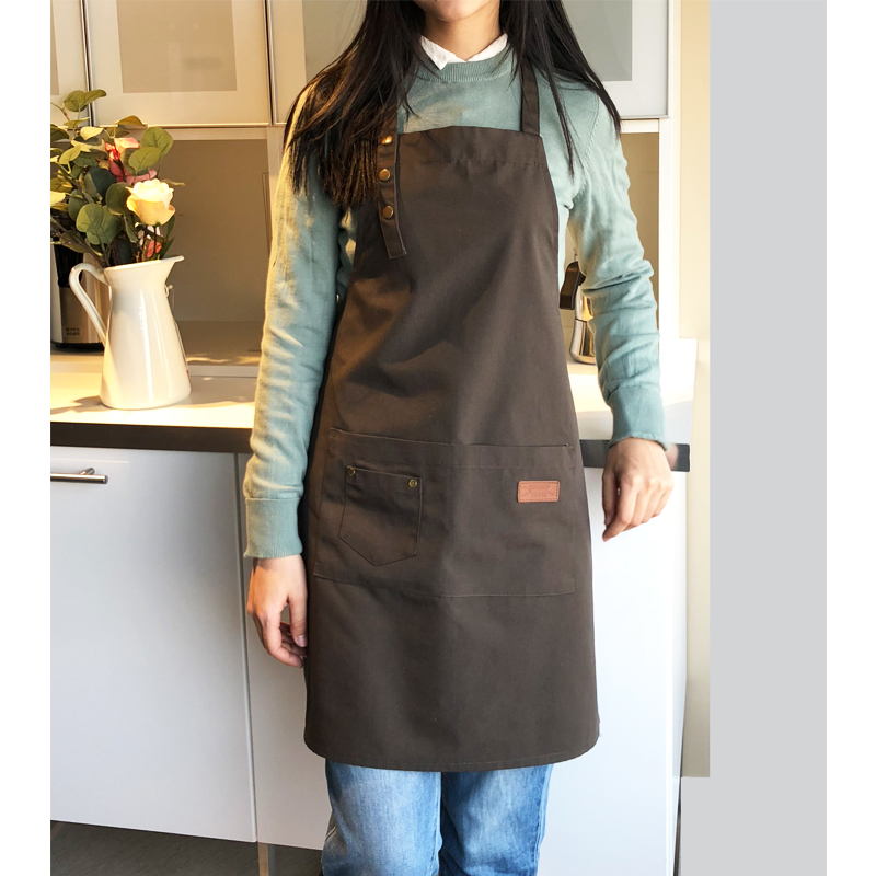 Image 2 - New Fashion Canvas Cotton Apron Coffee Shop And Barber Working Apron Bib Cooking Kitchen Aprons For Woman Man Apron Custom Logo-in Aprons from Home & Garden