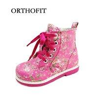 2018 Nuevo diseño ruso niños ortopédicos zapatos de las muchachas de cuero sintético de moda botines calientes con la ayuda de arco único