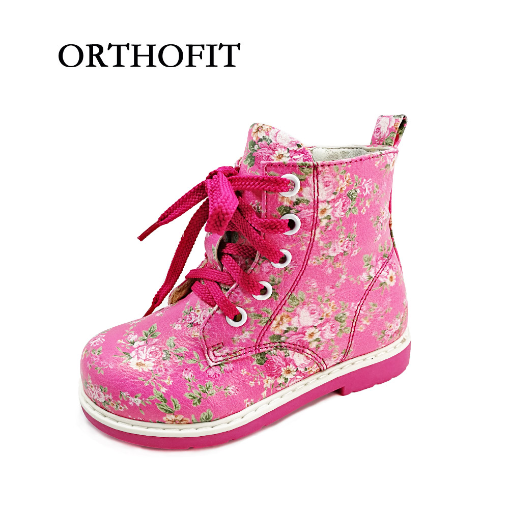 New design russian children orthopedic shoes girls flower synthetic leather shoes kids zipper martin boots with arch support