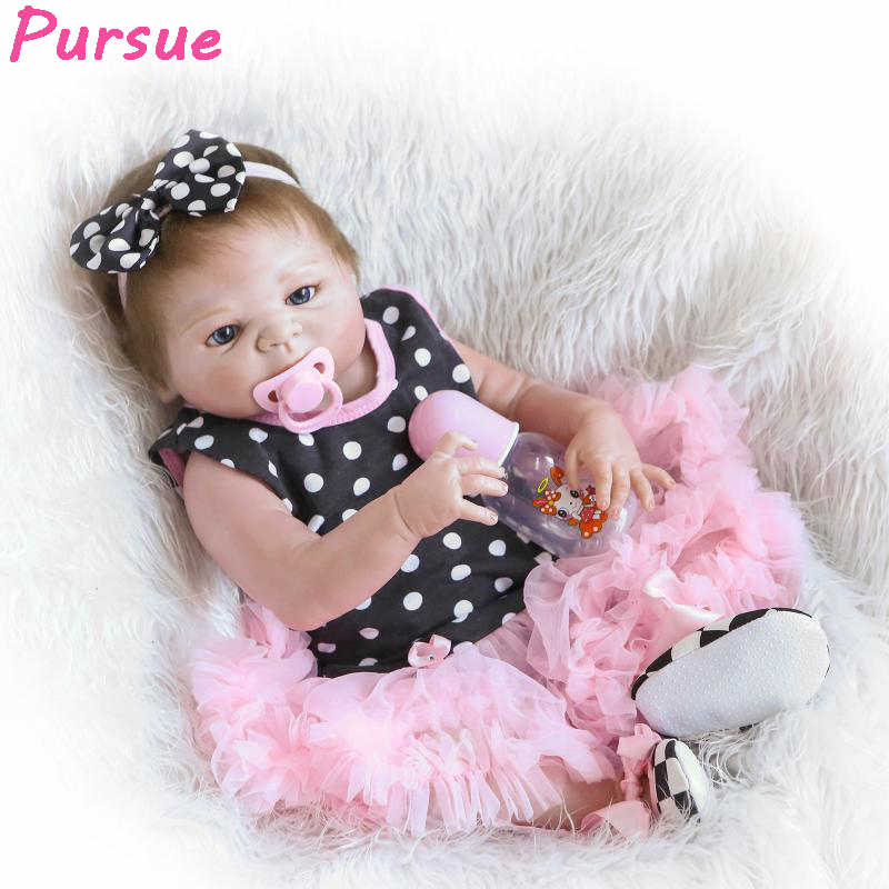 Pursue Full Body Silicone Reborn Dolls Baby Alive Realistic Lifelike American Girl Doll for Christmas Gift Bouquet Doll 22/57cm full silicone reborn dolls
