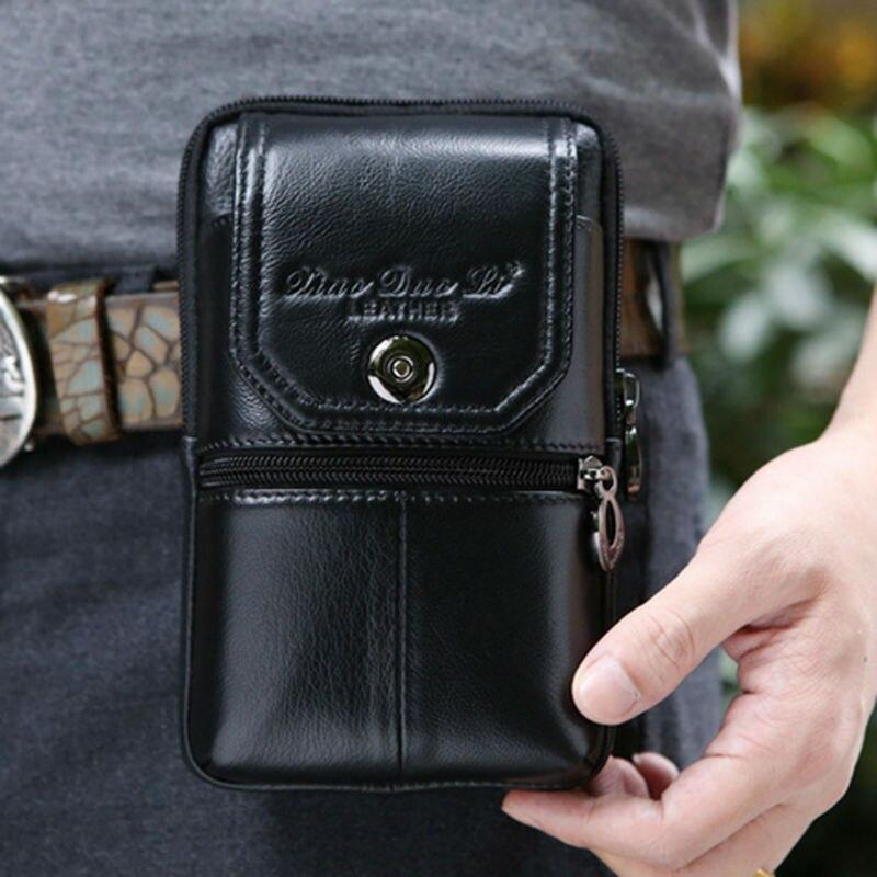 Mäns äkta läderhuvud Vintage Travel Cell / Mobiltelefonväska - Bälten väskor - Foto 5