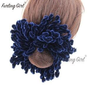 Image 1 - Furling Girl 1PC muzułmanki moda Scrunchies elastyczne gumki do włosów duży rozmiar dziania wełny peruka z kucykiem spinka do koka