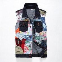 Men sleeveless slim match vest  patchwork denim jacket Men's denims flight jacket coat Men hip hop skateboard informal jacket parka